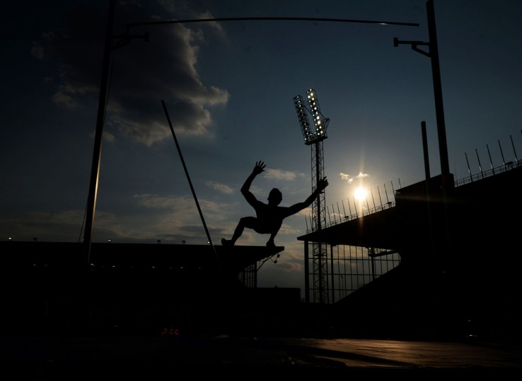Renaud Lavillenie of France competes during the Men's Pole Vault event at the IAAF World challenge Zlata Tretra (Golden Spike) athletics tournament in Ostrava, on May 20, 2016. (AFP Photo/Michal Cizek)