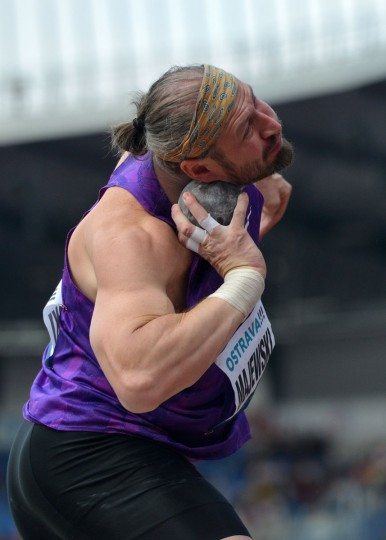 Tomasz Majewski of Poland competes during the men's shot put competition at the IAAF World challenge Zlata Tretra (Golden Spike) athletics tournament in Ostrava, on May 20, 2016. (AFP Photo/Michal Cizek)