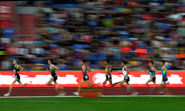 Competitors run during the men's 1500m competition at the IAAF World challenge Zlata Tretra (Golden Spike) athletics tournament in Ostrava, on May 20, 2016. (AFP Photo/Michal Cizek)