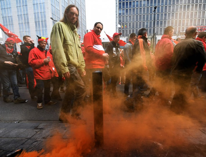 Demonstrators gather for a national protest on May 24, 2016, in Brussels. Belgian trade unions called for mass protests against the centre-right government's proposed work reforms as they plan rallies and strikes over the next few months. (Dirk Waem/AFP/Getty Images)