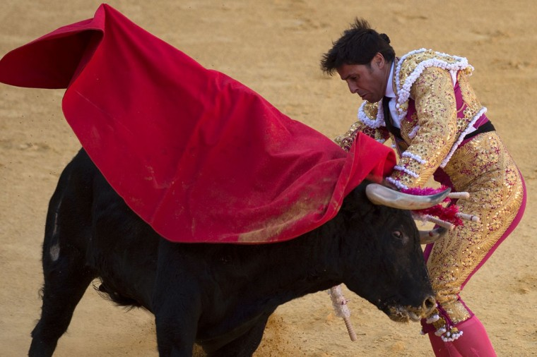 Spanish matador Francisco Rivera Ordonez is struck by a bull during the Corpus bullfighting festival at the bullring of Granada on May 25, 2016. (JORGE GUERRERO/AFP/Getty Images)