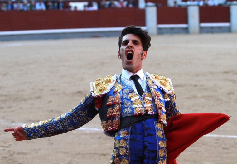 Spanish matador Alejandro Talavante acknowledges the crowd after a bullfight during the San Isidro Feria at Las Ventas bullring in Madrid on May 18, 2016. (Alberto Simon/AFP/Getty Images)