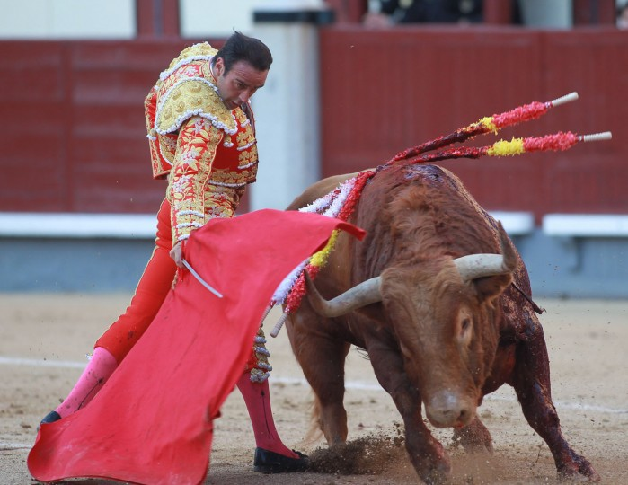 "Spanish matador Enrique Ponce performs a pass with ""muleta"" to a bull during the San Isidro Feria at Las Ventas bullring in Madrid on May 19, 2016. (Alberto Simon/AFP/Getty Images)"
