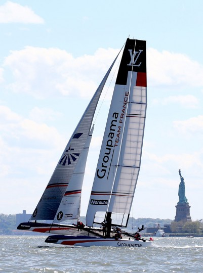 Groupama Team France sails the course as the near the Statue of Liberty during Day 2 of the Louis Vuitton America's Cup World Series Racing on May 8, 2016 on the Hudson River in New York City. Teams from six nations are competing for points that go toward the America's Cup final in Bermuda in 2017. (Photo by Elsa/Getty Images)