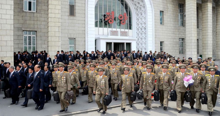 This picture taken and released by North Korea's official Korean Central News Agency (KCNA) on May 3, 2016 shows participants for the Seventh Congress of the Workers' Party of Korea (WPK) arriving in Pyongyang. After four years of top-level reshuffles, purges and executions, Kim Jong-Un will formally cement his unassailable status as North Korea's supreme leader at a landmark ruling party congress this week. (AFP PHOTO/KCNA VIA KNS)