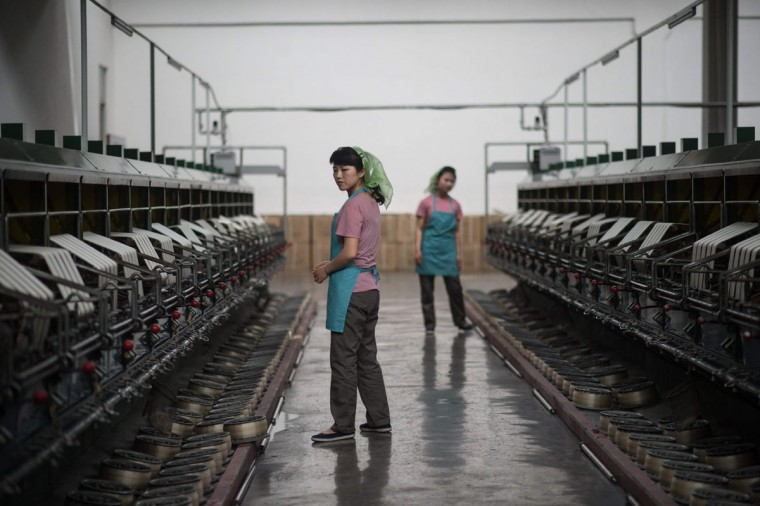 Workers operate machinery at a silk factory in Pyongyang on May 9, 2016. (AFP PHOTO / Ed Jones)
