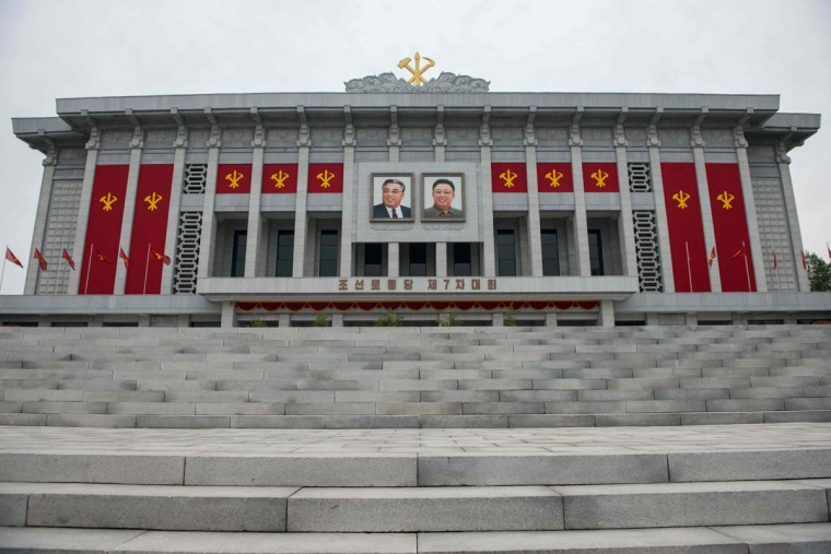 A general view shows the April 25 Palace, the venue of the 7th Workers Party Congress, in Pyongyang on May 9, 2016. North Korean leader Kim Jong-Un was on May 9 given a new title -- chairman of the Workers' Party -- at a rare top-level meeting of the ruling party. (AFP PHOTO / Antoine Demaison)