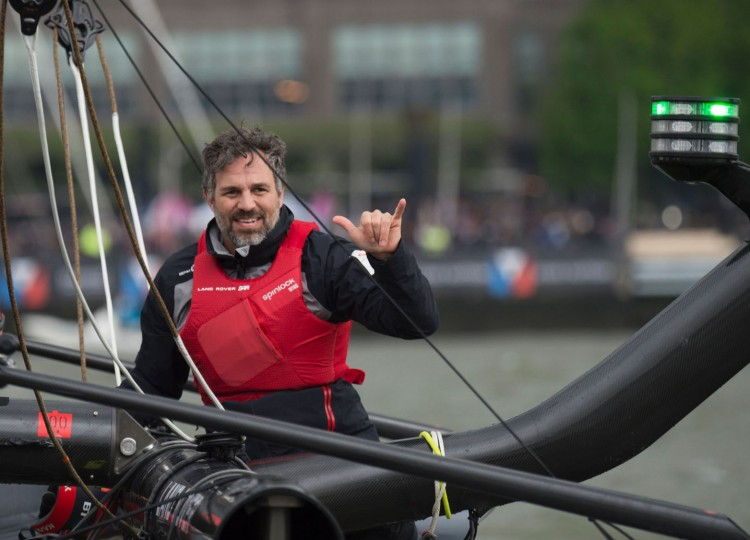 Actor Mark Ruffalo sails aboard Land Rover BAR during pre-racing in the Louis Vuitton America's Cup World Series New York May 7, 2016 in New York. (Don Emmert/AFP/Getty Images)