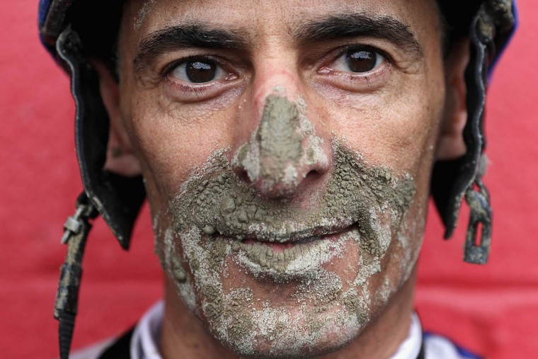 Jockey John Velazquez of horse Salutos Amigos poses for a portrait after racing in The Sagamore Spirit Maryland Sprint Stakes prior to the 141st running of the Preakness Stakes at Pimlico Race Course on May 21, 2016 in Baltimore, Maryland. (Photo by Patrick Smith/Getty Images)