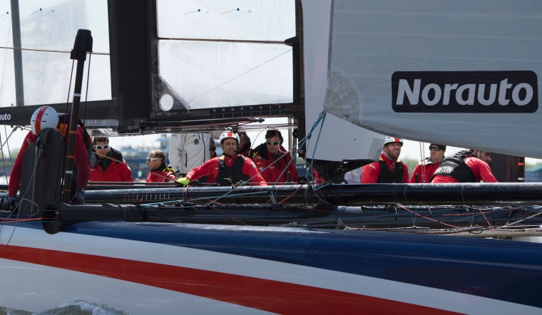 Groupama Team France crew relaxes after crossing the finish line to win the second race of the Louis Vuitton America's Cup World Series New York May 8, 2016 in New York. (Don Emmert/AFP/Getty Images)