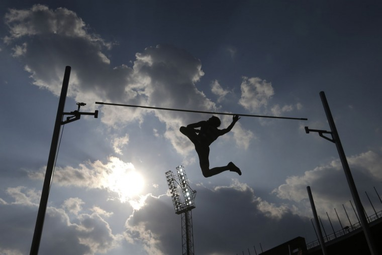 A competitor fails to clear the bar during the pole vault event at the Golden Spike athletic meeting in Ostrava, Czech Republic, Friday, May 20, 2016. (AP Photo/Petr David Josek)