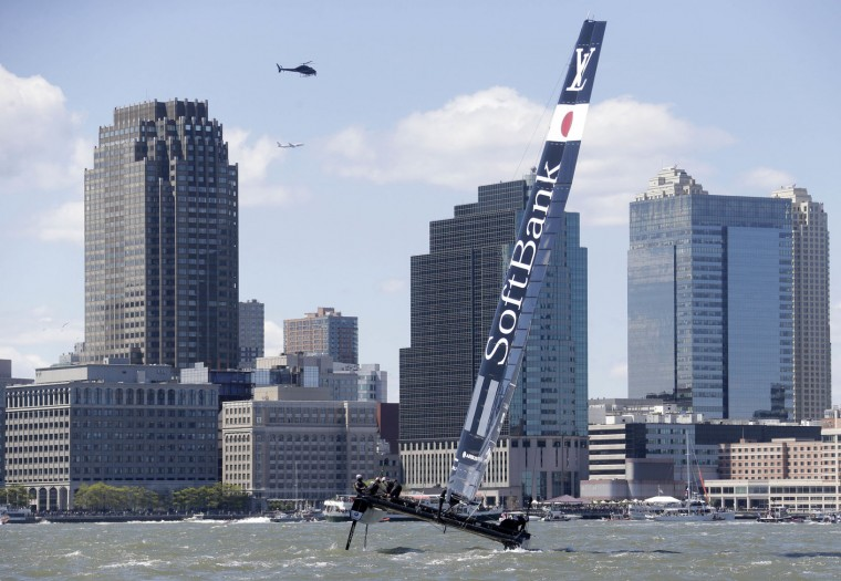 SoftBank Team Japan sails during Race 1 at the America's Cup World Series sailing event in New York, Sunday, May 8, 2016. Emirates Team New Zealand won the N.Y. event. (AP Photo/Seth Wenig)