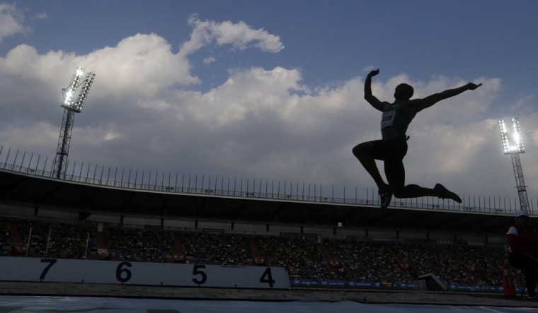 Ashton Eaton of the U.S competes in the long jump event at the Golden Spike athletic meeting in Ostrava, Czech Republic, Friday, May 20, 2016. (AP Photo/Petr David Josek)
