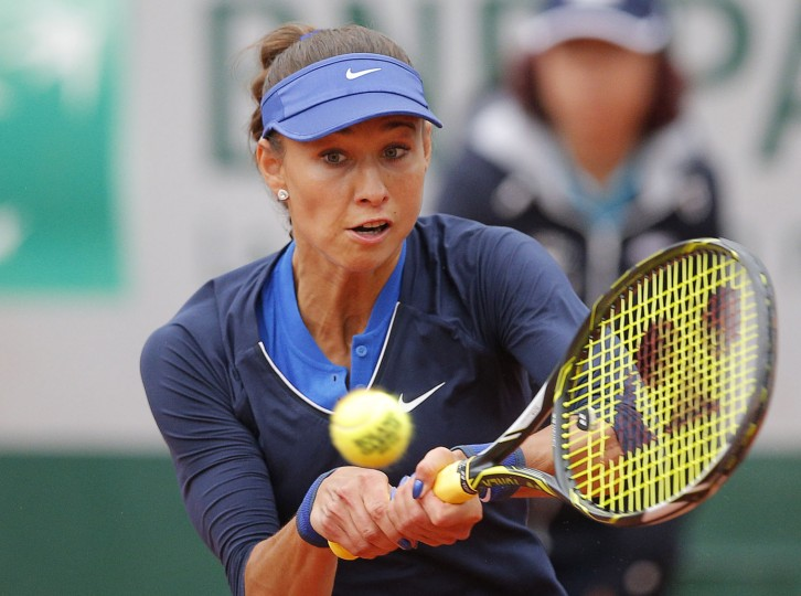 Vitalia Diatchenko of Russia returns during the first round match of the French Open tennis tournament against Lucie Safarova of the Czech Republic at Roland Garros stadium in Paris, France, Sunday, May 22, 2016. (AP Photo/Christophe Ena)