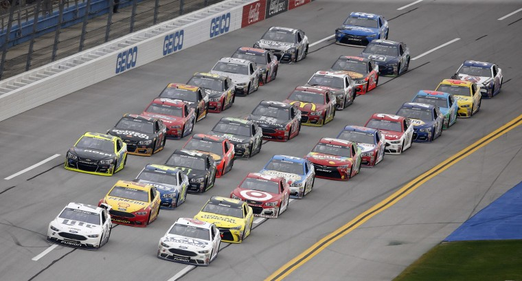 NASCAR driver Brad Keselowski leads near the end of the NASCAR Talladega auto race at Talladega Superspeedway, Sunday, May 1, 2016, in Talladega, Ala. (AP Photo/John Bazemore)