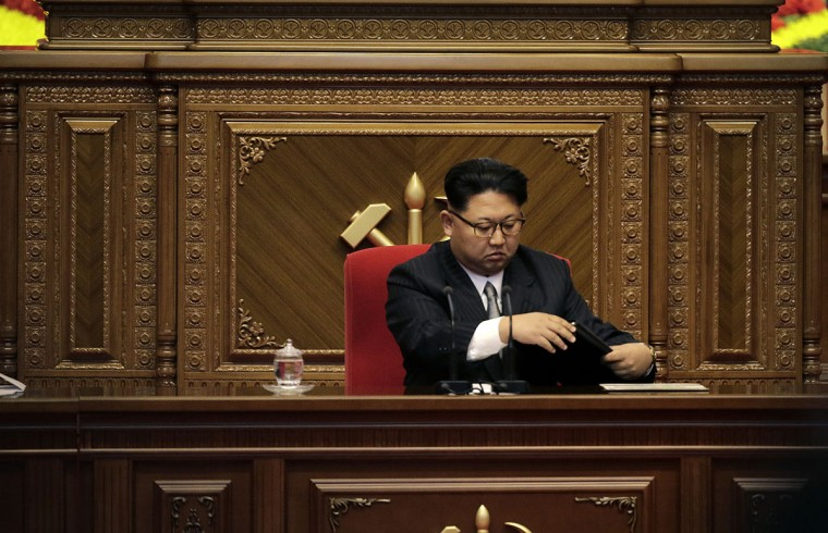North Korean leader Kim Jong Un arrives for the party congress at the April 25 House of Culture in Pyongyang, North Korea, Monday, May 9, 2016. North Korea's ruling-party congress on Monday announced a new title for Kim, party chairman, in a move that highlights how the authoritarian country's first congress in 36 years is aimed at bolstering the young leader. (AP Photo/Wong Maye-E)