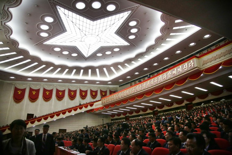 Party representatives sit in the hall of the April 25 House of Culture during the party congress in Pyongyang, North Korea, Monday, May 9, 2016. North Korea's ruling-party congress on Monday announced a new title for Kim Jong Un, party chairman, in a move that highlights how the authoritarian country's first congress in 36 years is aimed at bolstering the young leader. (AP Photo/Wong Maye-E)