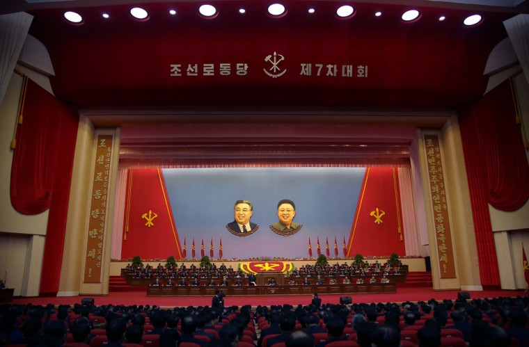 The interior of the convention hall where the party congress takes place is seen on Monday, May 9, 2016, in Pyongyang, North Korea. North Korea has brought in more than 100 journalists from around the world to make sure that the 7th Congress of its ruling Workers' Party gets global attention. Four days into the event, they allowed a small number of foreign journalists into the conventional hall where the congress was taking place. (AP Photo/Wong Maye-E)