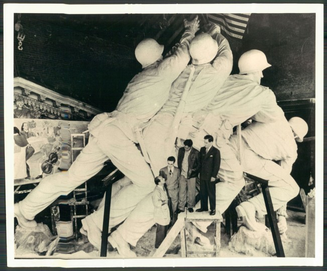 December 10, 1972: Working on the Shrine of Toleration is Felix de Weldon, sculptor of the U.S. Marine Corps War Memorial (Mr. De Weldon and three survivors of the flag-raising stand in front of a plaster model, above).
