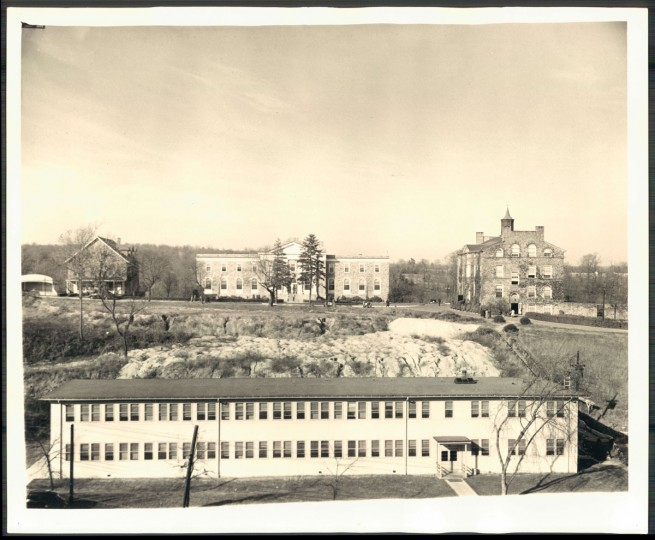Science annex in foreground, undated photo.