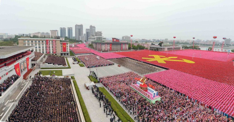 This picture taken on May 10, 2016 and released from North Korea's official Korean Central News Agency (KCNA) on May 11, 2016 shows general view of a mass parade marking the end of the 7th Workers Party Congress in Kim Il-Sung Square in Pyongyang. (AFP/Getty Images)