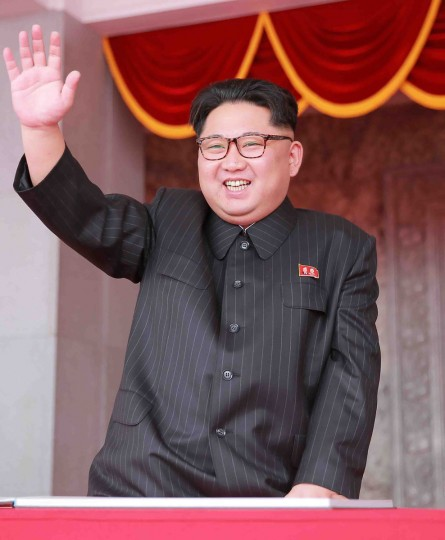 This picture taken on May 10, 2016 and released from North Korea's official Korean Central News Agency (KCNA) on May 11, 2016 shows North Korean leader Kim Jong-Un waving from a balcony of the Grand People's Study House following a mass parade marking the end of the 7th Workers Party Congress in Kim Il-Sung Square in Pyongyang. (KCNA / KNSKNS/AFP/Getty Images)
