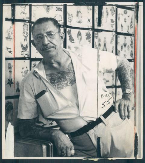 """""""Tattoo Charlie"""" Geizer in 1972. (Baltimore Sun)"""