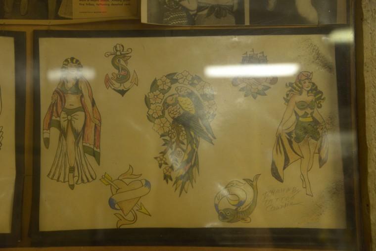 Some of Tattoo Charlies' original designs are on view. (Christina Tkacik/Baltimore Sun)