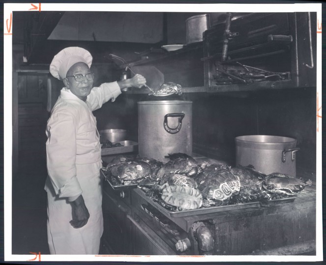 "February 18, 1962-Arthur C. Branch, a terrapin cook for 20 years, preparing some at the Maryland Club, where 150 to 200 were used each week in season. The Maryland Club was once ""the very shrine of terrapin-eating,"" according to a 1952 article in The Baltimore Sun. (Bodine/Baltimore Sun)"