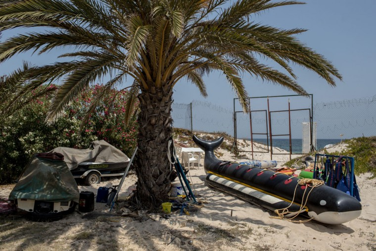 Beach activity equipment is seen at the closed Imperial Marhaba Hotel on June 24, 2016 in Sousse, Tunisia. The Imperial Marhaba hotel was the main target of the 2015 Sousse beach terrorist attack that killed 38 people including 30 Britons. The hotel attempted to stay open for three months after the attacks, however low occupancy forced the hotel to close. Since then it has operated with a skeleton staff, who work to maintain the rooms and grounds, other permanent hotel staff were able to be placed in temporary jobs at two other hotels owned by the same chain. The hotel hopes to open again by next spring or as soon as British travel advisories and restrictions are lifted for Tunisia. Before the 2011 revolution, tourism in Tunisia accounted for approximately 7% of the countries GDP. The two 2015 terrorist attacks at the Bardo Museum and Sousse Beach saw tourism numbers plummet even further forcing hotels to close and many tourism and hospitality workers to lose their jobs. The 26th of June 2016 marks the anniversary of the Sousse beach attacks. (Photo by Chris McGrath/Getty Images)