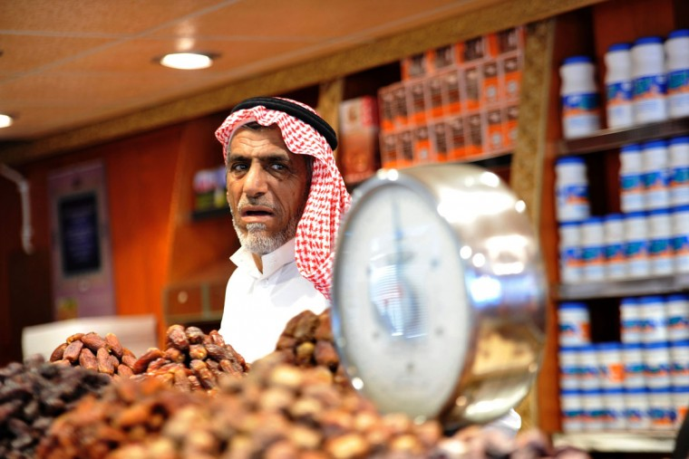 A Saudi vendor looks on from his shop at a market in the city of Jeddah on June 3, 2016, as the faithful prepare for the start of the holy fasting month of Ramadan. More than 1.5 billion Muslims around the world will start to celebrate Ramadan the first week of June, during which observant Muslims fast from dusk to dawn. / (AFP Photo/Stringerstringer/afp/getty Images )