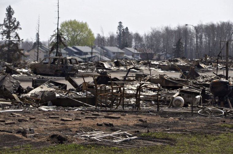 The charred remains of homes, various items, and a vehicle litter the neighborhood of Beacon Hill in wildfire-ravaged Fort McMurray, Alberta, on Friday, May 13, 2016. (Jason Franson /The Canadian Press via AP)