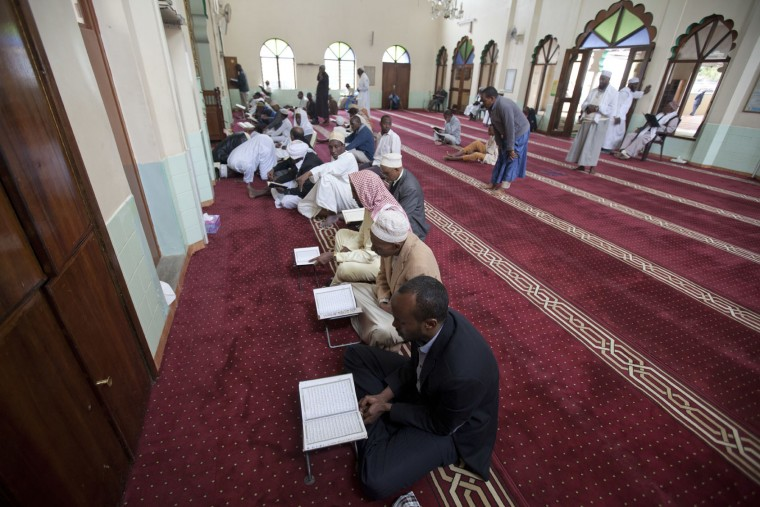 Kenyan Muslims recite Quran, Islam's holy book, on the second Friday of Islam's holy month of Ramadan, at Masjid Noor, Nairobi, Kenya, Friday, June 17, 2016. Ramadan, which is calculated on the sighting of the new moon, began June 6 in Kenya, where practicing Muslims worldwide abstain from eating, drinking, smoking and sexual activities from dawn to dusk. (AP Photo/Sayyid Abdul Azim)