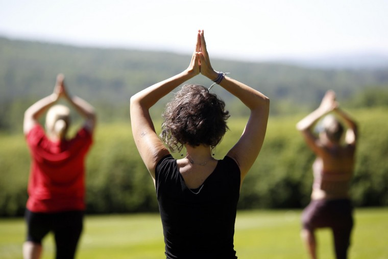 Accompanied by a string quartet, a large group gathers for a yoga class taught by Kripalu for International Yoga Day, Tuesday, June 21, 2016, at Tanglewood in Lenox, Mass. (Stephanie Zollshan/The Berkshire Eagle via AP)