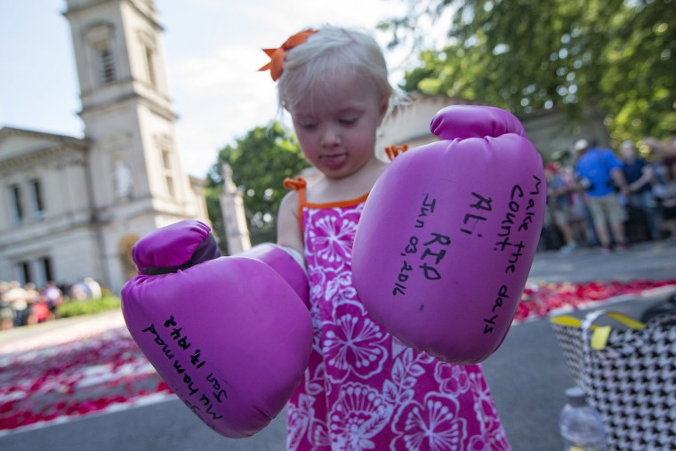 Lena Worthington, 2, of Louisville, wears boxing gloves as spectators wait for the arrival of Muhammad Ali's funeral procession to enter Cave Hill Cemetery, Friday, June 10, 2016, in Louisville, Ky. Ali died last Friday at age 74 after a long battle with Parkinson's disease. (AP Photo/John Minchillo)