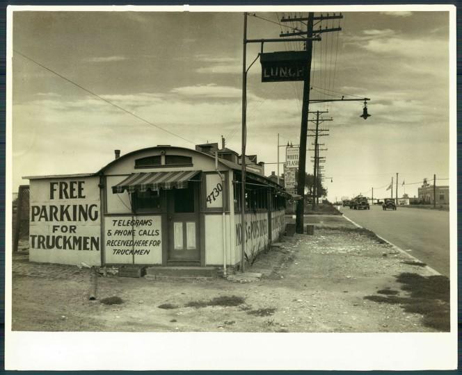 Diner along eastern end of Fayette Street, 1938. (Baltimore Sun)