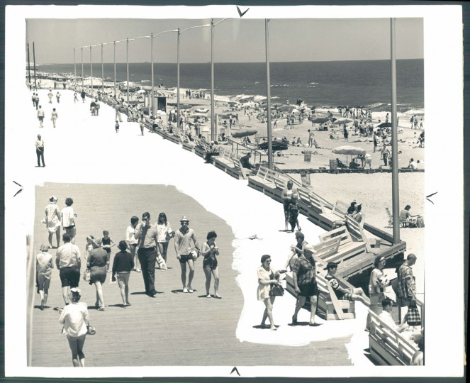 A scene on the boardwalk at Rehoboth Beach. With its fine sand and sea, the resort town attracts thousands of visitors seeking to get away from it all. July 25, 1965.