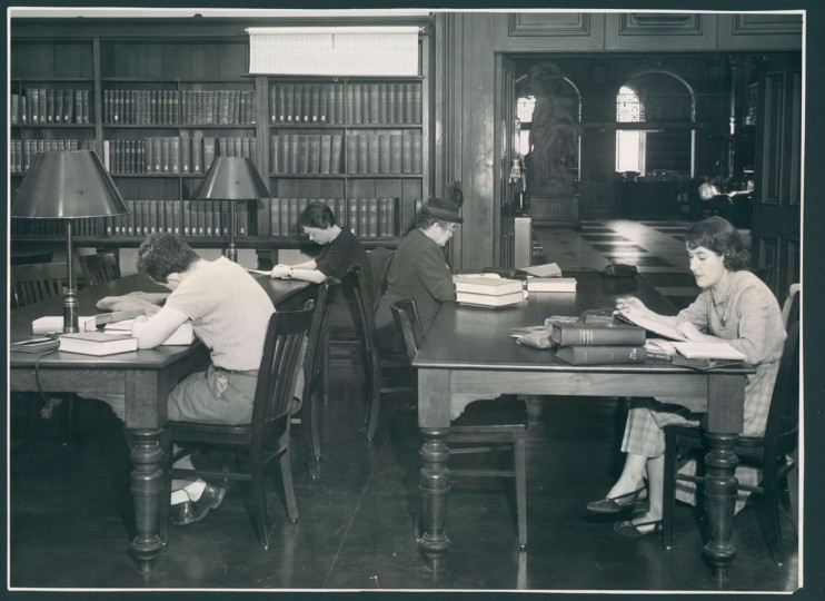 """A 1951 photo of patrons at the Peabody Institute Library, known as """"a cathedral of books."""" (Dunaway/Baltimore Sun)"""