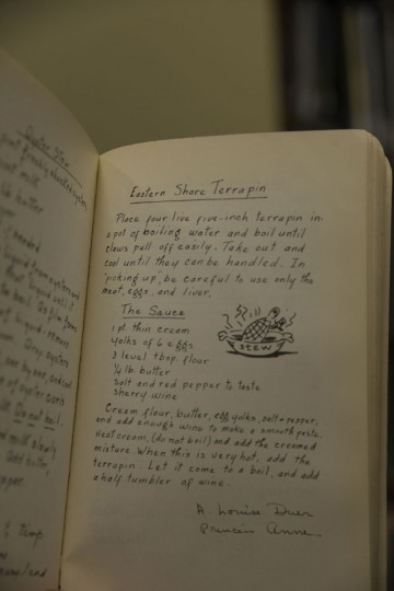 "A recipe for terrapin stew in a book of Maryland cooking. A heavy pour of sherry or madeira would ""help cut the weird taste,"" says Sun columnist Jacques Kelly, who tasted the stuff at the Maryland Club, once famous for their terrapin stew. (Christina Tkacik/Baltimore Sun)"