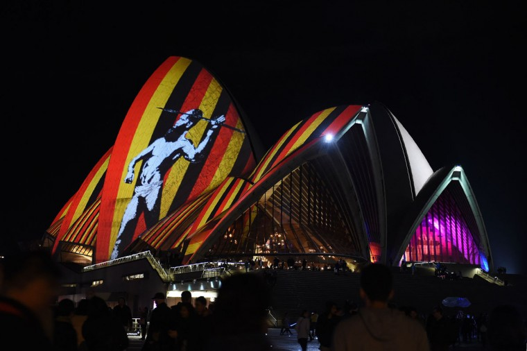 Australia's iconic Opera House is lit up with an art installation called 'Songlines' during the Vivid Sydney festival on June 1, 2016. Vivid Sydney, an annual festival of light, music and ideas, runs from May 27 to June 18. (SAEED KHAN/AFP/Getty Images)