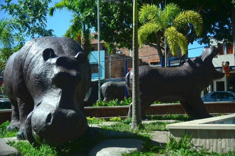Hippo models are seen at Jorge Tulio Garces neighbourhood in Doradal, Antioquia department, Colombia, near the Hacienda Napoles theme park, once the private zoo of drug kingpin Pablo Escobar at his Napoles ranch, on June 22, 2016. (RAUL ARBOLEDA/AFP/Getty Images)