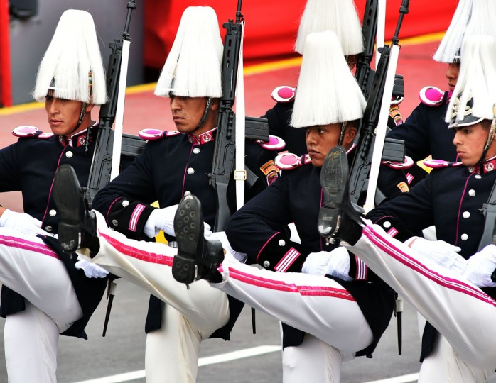 Members of the Bolivian Husars take part in a military parade to celebrate Peru¥s Independence Day in Lima on July 29, 2016. / (AFP Photo/Cris Bouroncle)