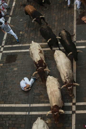 A man lies on the ground as a Fuente Ymbro fighting bulls pass on the first day of the San Fermin bull run on July 7, 2016, in Pamplona, northern Spain. On each day of the festival six bulls are released at 8:00 a.m. (0600 GMT) to run from their corral through the narrow, cobbled streets of the old town over an 850-meter (yard) course. Ahead of them are the runners, who try to stay close to the bulls without falling over or being gored. / (AFP Photo/Pedro Armestre)