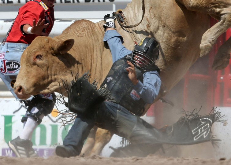 Markus Mariluch of Daingerfield, Texas, gets caught up on his bull in the bull riding event during the fifth performance of the 120th annual Cheyenne Frontier Days Rodeo Wednesday afternoon, July 27, 2016, at Frontier Park Arena in Cheyenne, Wyo. (Blaine McCartney/Wyoming Tribune Eagle via AP)