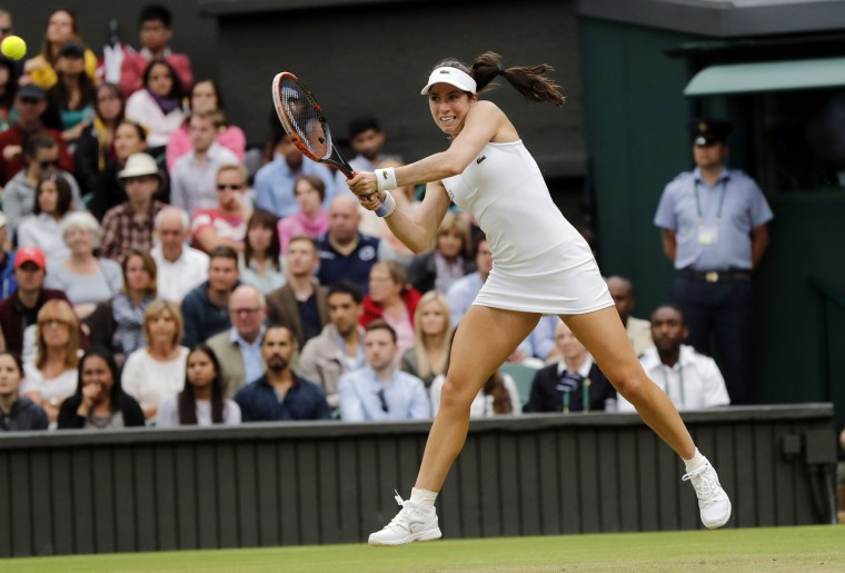 Christina McHale of the U.S returns to Serena Williams of the U.S during their women's singles match on day five of the Wimbledon Tennis Championships in London, Friday, July 1, 2016. (AP Photo/Ben Curtis)
