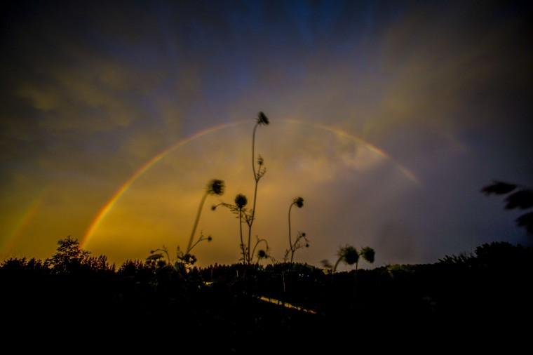 A double rainbow appears at sunset Thursday, July, 21, 2006 in Saukville, Wi. (AP Photo/Jeffrey Phelps)