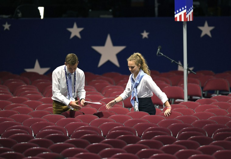 Preparations are made at the Quicken Loans Arena before the opening session of the Republican National Convention in Cleveland, Monday, July 18, 2016. (AP Photo/Mark J. Terrill)