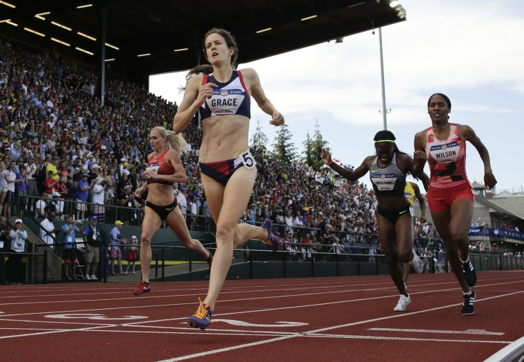 Kate Grace wins the during the women's 800-meter final at the U.S. Olympic Track and Field Trials, Monday, July 4, 2016, in Eugene Ore. (AP Photo/Matt Slocum)