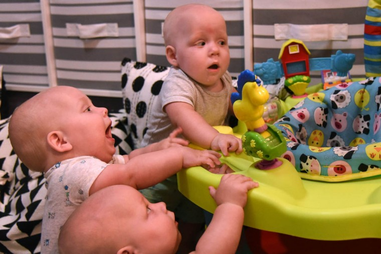 The triplets, from front, Ollie, Trip and Finn, are able to explore the toys on a new bouncy seat now that they can pull themselves up. (Amy Davis/Baltimore Sun)