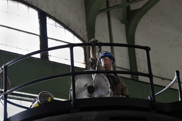 Charles Brooks, a millwright with Voith Hydro, is part of a team of workers who are doing an inspection on one of the turbines at the Exelon Conowingo Hydroelectric Plant, which has been producing electricity on the Susquehanna River since 1928. (Barbara Haddock Taylor, Baltimore Sun)